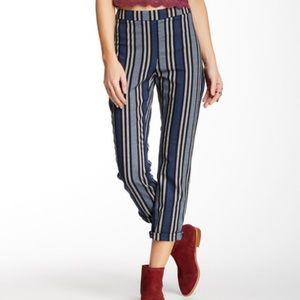 Free People Stripe Mod Ankle Pants Blue Black12